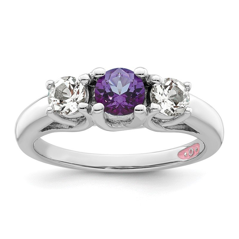 Fine Jewelry by JBD Sterling Silver Survivor Collection Clear & Purple Swarovski Topaz Pamela R
