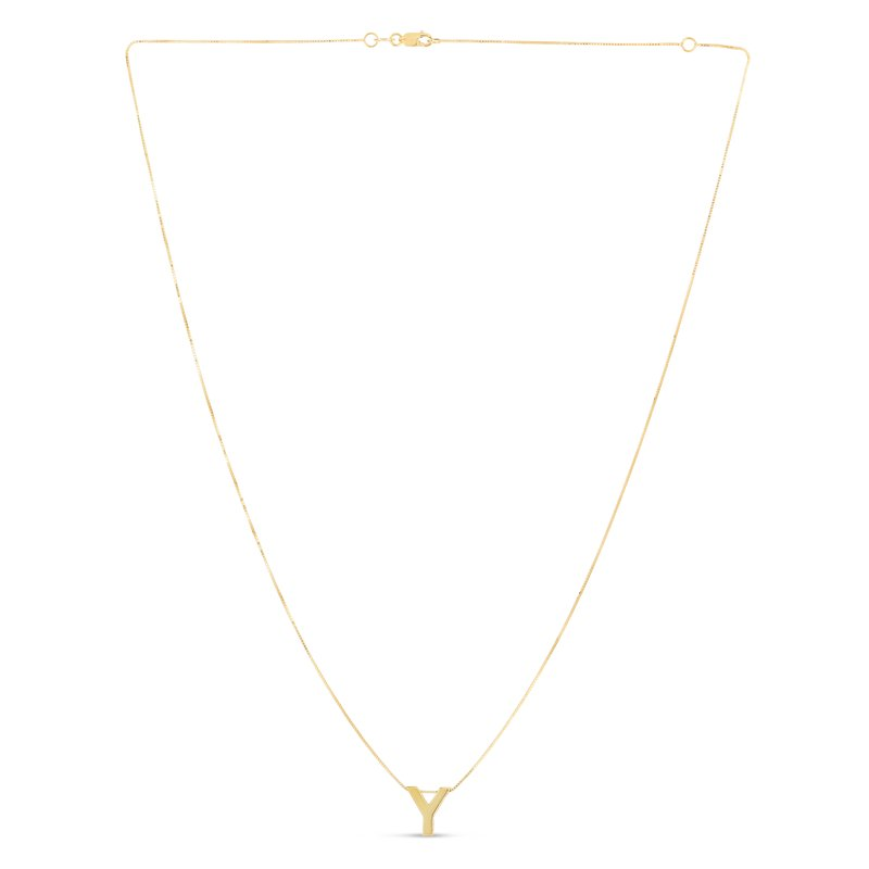 Royal Chain 14K Gold Block Letter Initial Y Necklace
