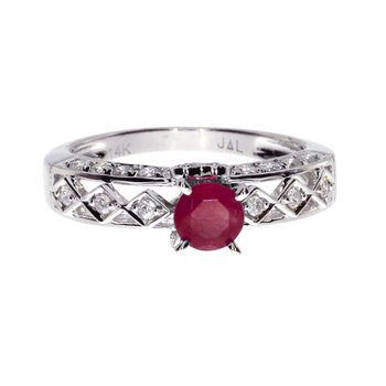 14k White Gold Oval Ruby Solitaire Ring