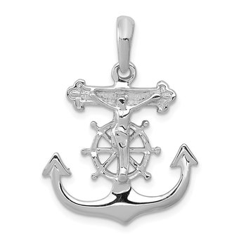 14k White Gold Mariner's Cross Pendant
