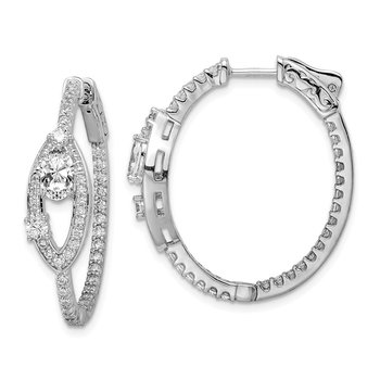 Sterling Silver Rhodium Plated CZ Oval Hinged In/Out Hoop Earrings