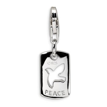 Sterling Silver CZ Cut-out Dove/Peace Clip-on w/Lobster Clasp Charm