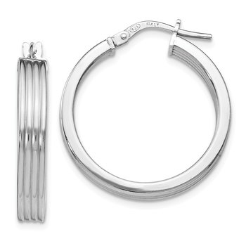 Leslie's Sterling Silver Polished Grooved Hoop Earrings
