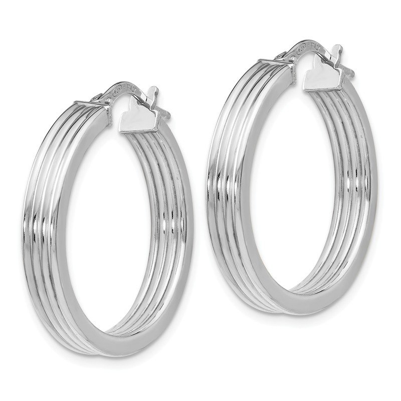 Leslie's Leslie's Sterling Silver Polished Grooved Hoop Earrings