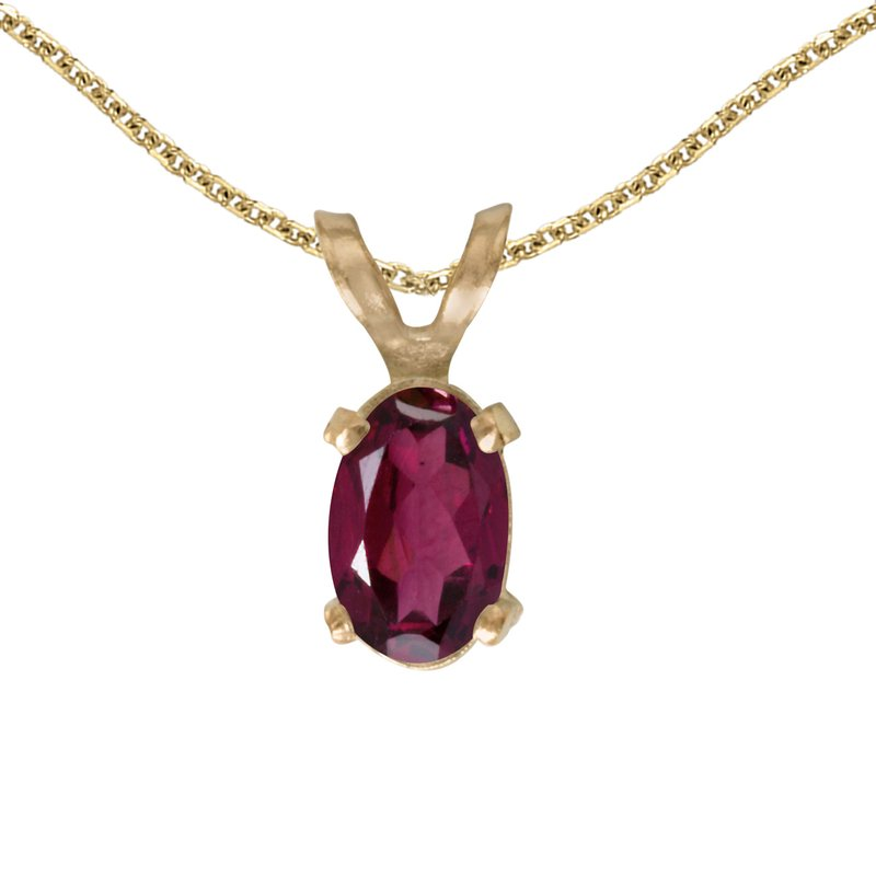 Color Merchants 14k Yellow Gold Oval Rhodolite Garnet Pendant