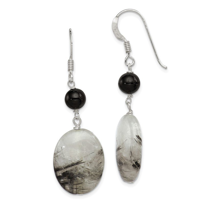 Quality Gold Sterling Silver Black Crystal/Tourmalinated Quartz Earrings