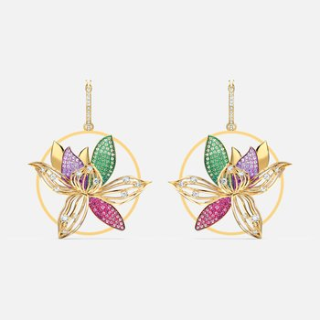 Togetherness Hoop Pierced Earrings, Multicolored, Gold-tone plated