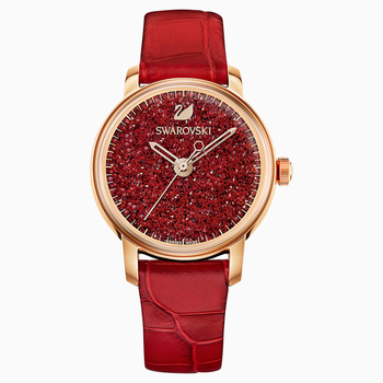 Crystalline Hours Watch, Leather strap, Red, Rose-gold tone PVD