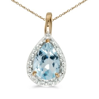 14k Yellow Gold Pear Aquamarine Pendant