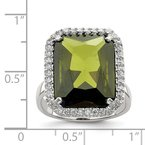 Quality Gold Sterling Silver Rectangle Clear & Green CZ Ring
