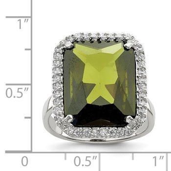 Sterling Silver Rectangle Clear & Green CZ Ring