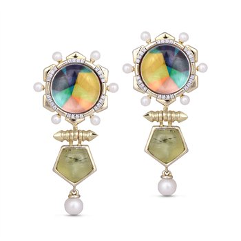 LuvMyJewelry Prehnite & Vibrant Mosaic Gypsy Soul Pearl Earrings in Sterling Silver & 14 KT Yellow Gold Plating