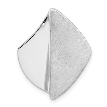 Sterling Silver Rhodium-plated Polished and Brushed Slide