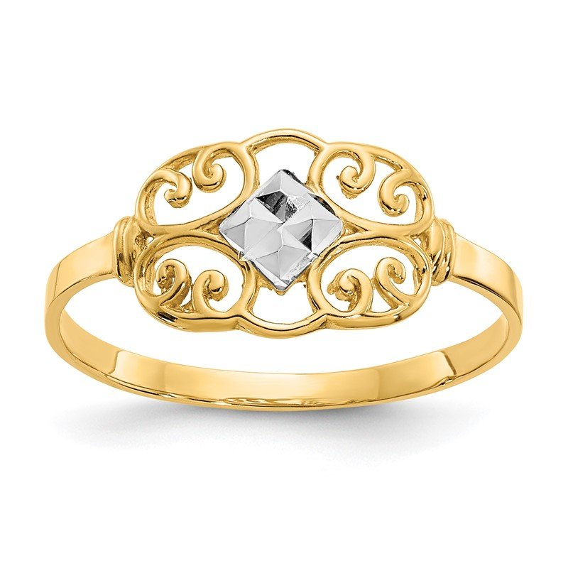 Quality Gold 14K w/Rhodium Filigree Ring