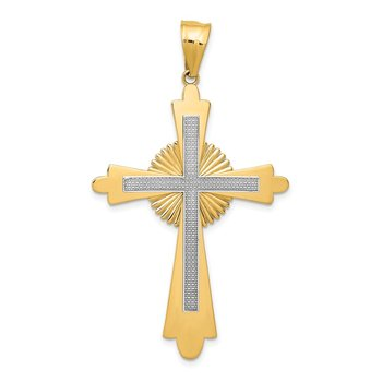 14k Two-Tone Polished Cross Pendant