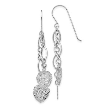 14K WG Dangle Heart Earrings