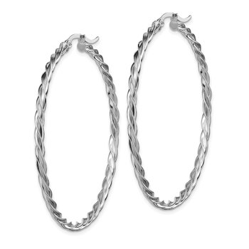 14K Polished White Gold 2.5mm Twisted Hoop Earrings