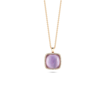 Pendant With Diamonds, Amethyst And Mother Of Pearl
