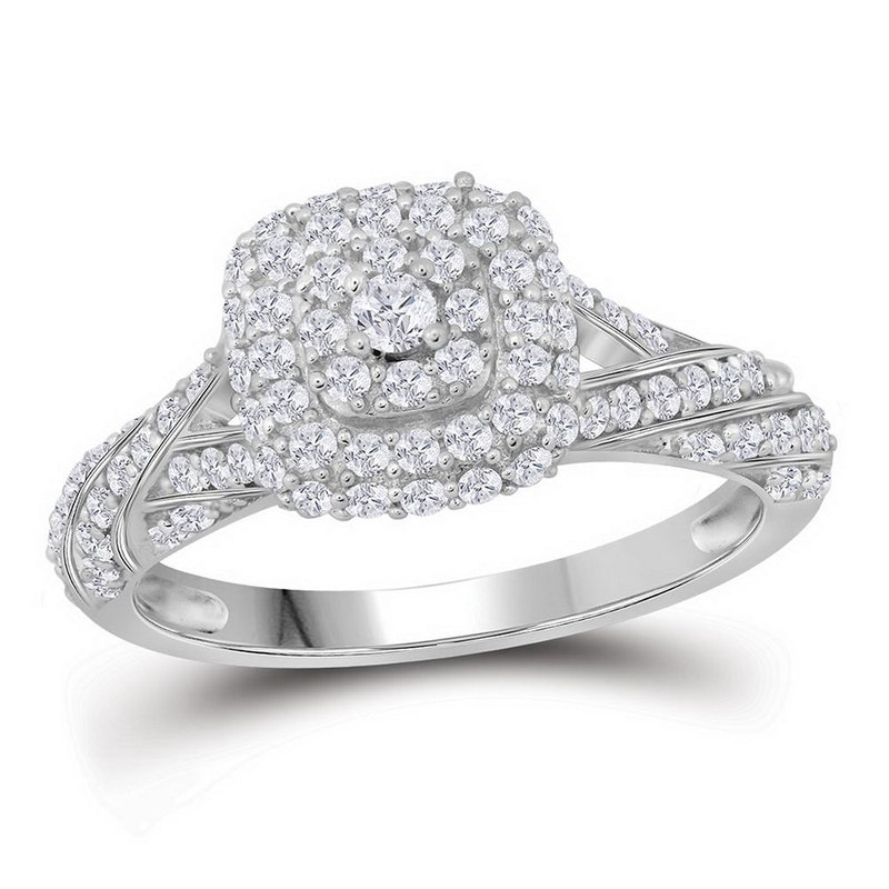 Gold-N-Diamonds, Inc. (Atlanta) 10kt White Gold Womens Round Diamond Solitaire Halo Bridal Wedding Engagement Ring 3/4 Cttw