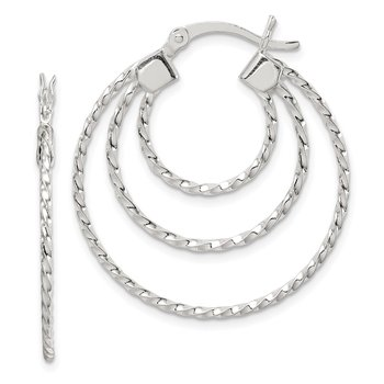 Sterling Silver Textured Triple Hoop Earrings