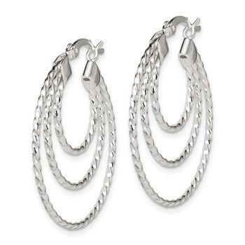 Sterling Silver Twisted Triple Hoop Earrings