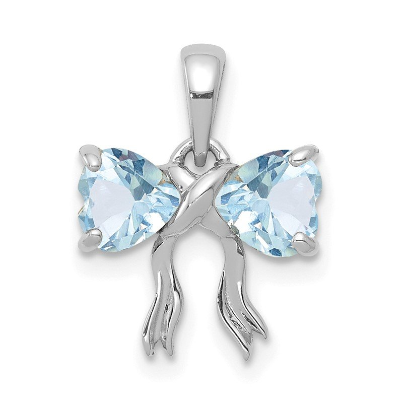 Quality Gold 14k White Gold Polished Aquamarine Bow Pendant