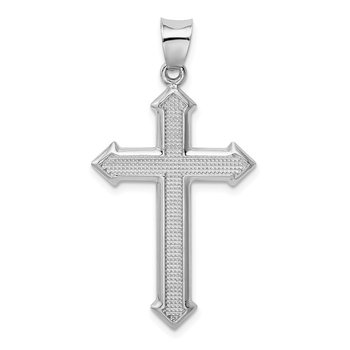 Sterling Silver Rhodium-plated Textured & Polished Cross Pendant
