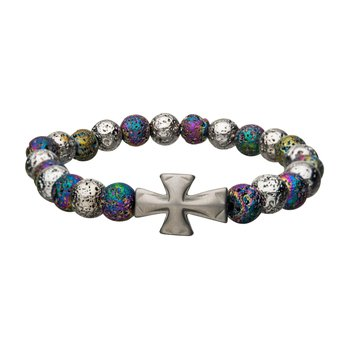 White and Colorful Lava Beads with Cross Bracelet