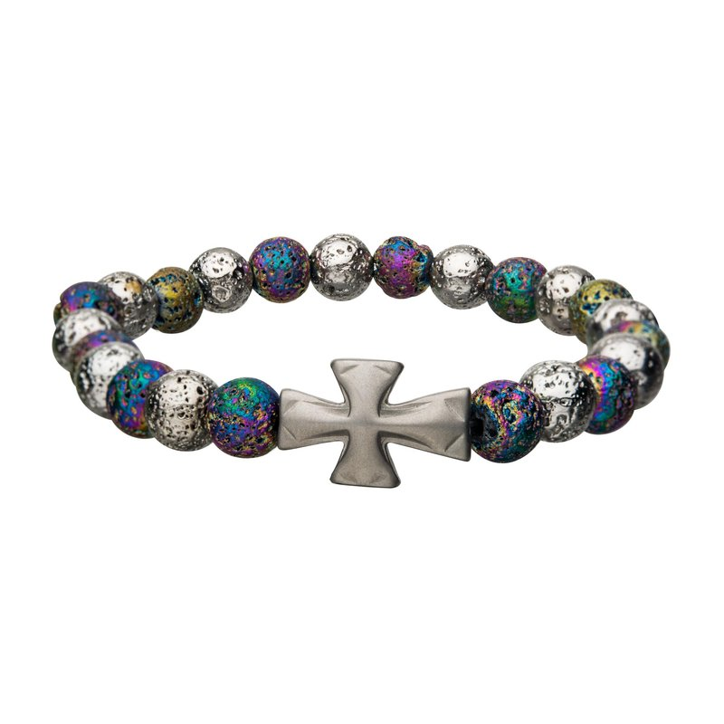 INOX White and Colorful Lava Beads with Cross Bracelet
