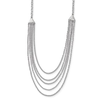 Sterling Silver Rhodium-plated Multi-strand Necklace