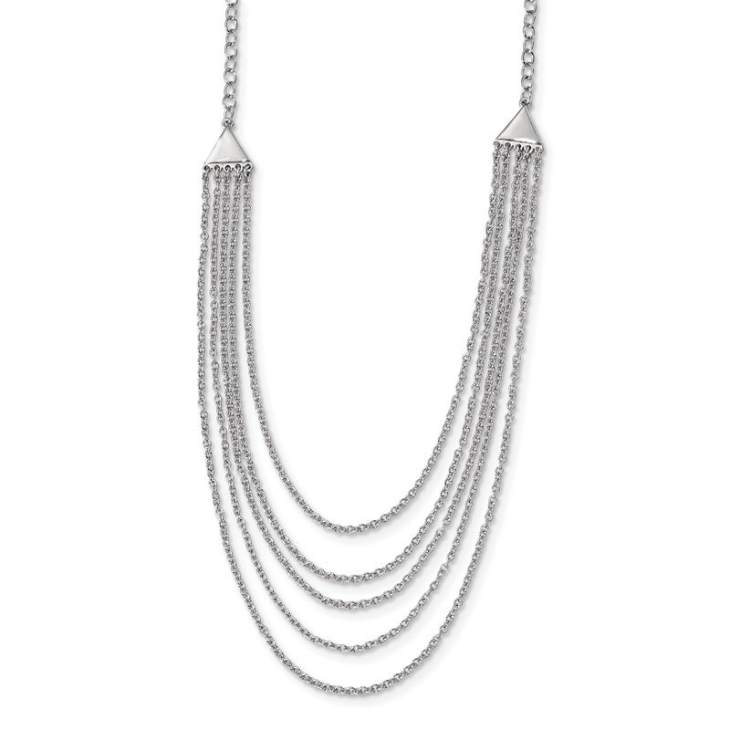Quality Gold Sterling Silver Rhodium-plated Multi-strand Necklace