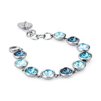 316L stainless steel and montanta, light turquoise, indicolite and aquamarine Swarovski® Elements