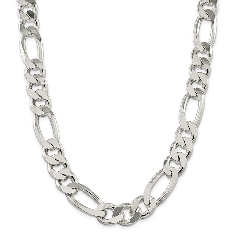 Quality Gold Sterling Silver 15mm Figaro Chain
