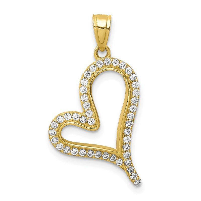 J.F. Kruse Signature Collection 10K CZ Micro Pave Heart Pendant