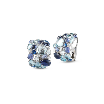 Earrings With Topaz, Iolite, Sapphires And Diamonds