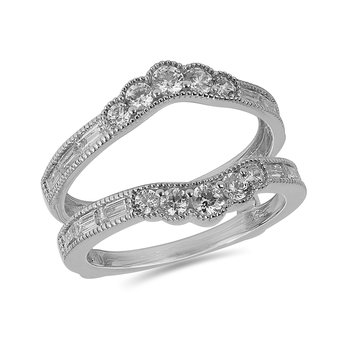 14K WG and diamond Insert curvy band for Engagement ring in pave and channel setting