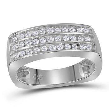 10kt White Gold Mens Round Diamond Triple Row Wedding Anniversary Band Ring 1/2 Cttw