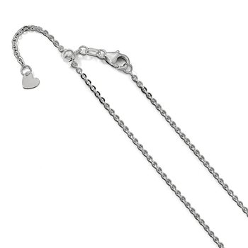 Leslie's 14K White Gold 1.7 mm Flat Cable Adjustable Chain