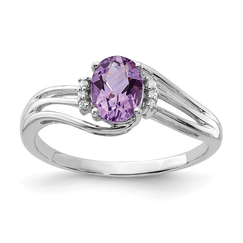 Quality Gold Sterling Silver Rhodium Plated Diamond and Amethyst Oval Ring