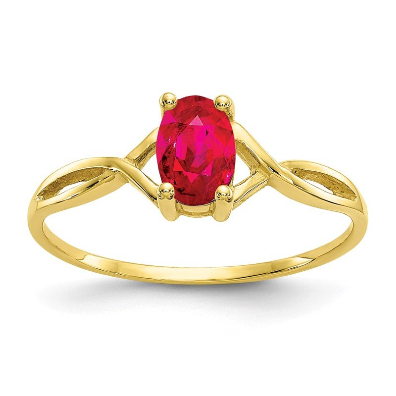 Quality Gold 10k Polished Geniune Ruby Birthstone Ring