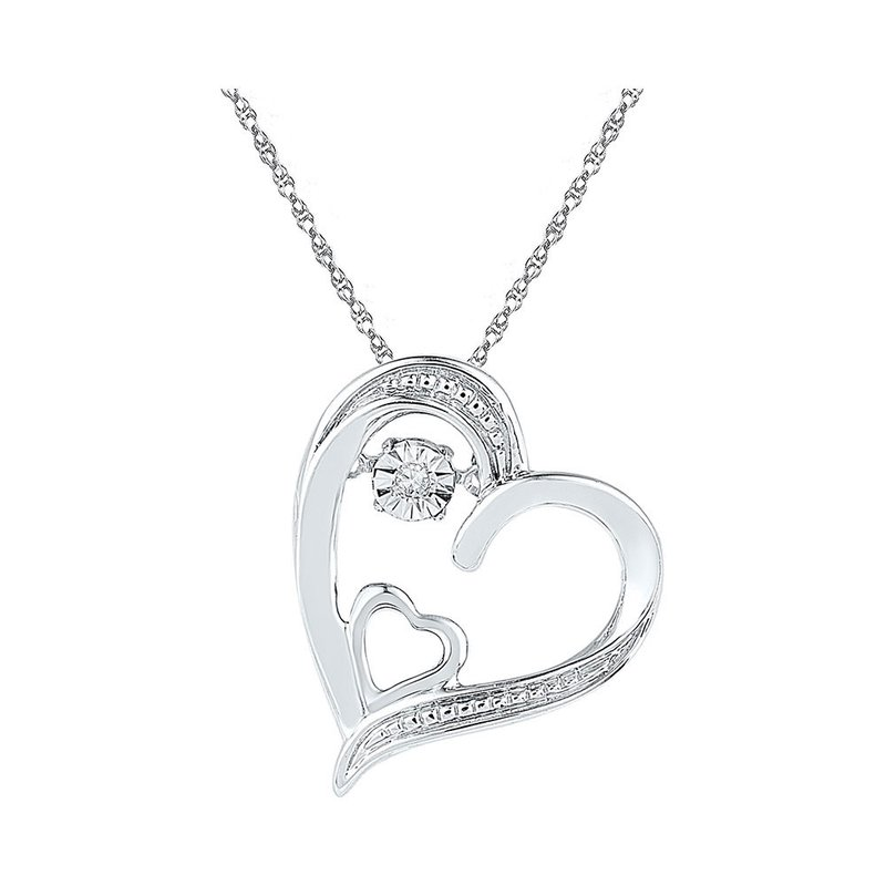 Gold-N-Diamonds, Inc. (Atlanta) Sterling Silver Womens Round Diamond Double Heart Moving Twinkle Pendant .01 Cttw