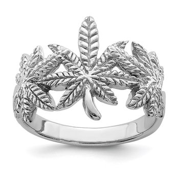 Sterling Silver Rhodium-plated Polished Leaf Ring