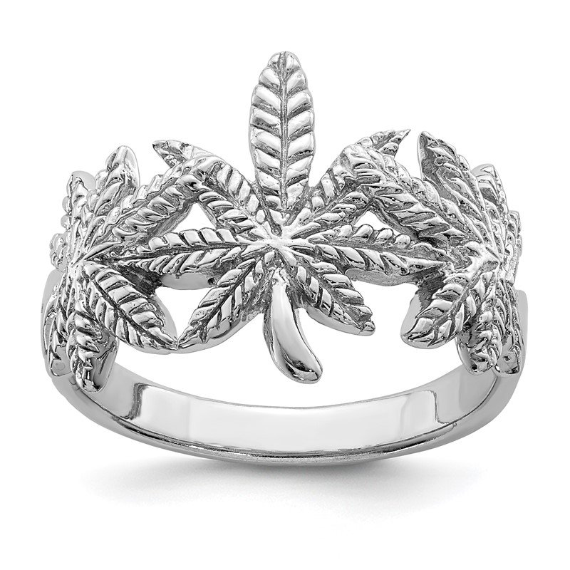 Quality Gold Sterling Silver Rhodium-plated Polished Leaf Ring