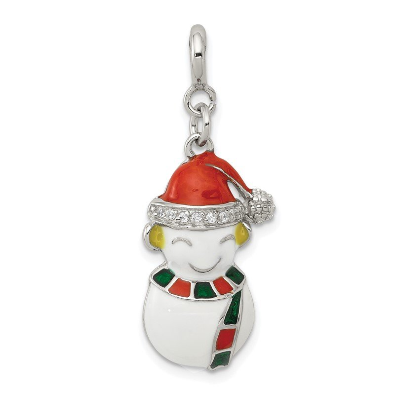 Quality Gold Sterling Silver CZ & Enameled Snowman Charm