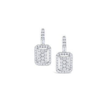 Rectangular Diamond Pavé Earrings Set in 14 Kt. Gold