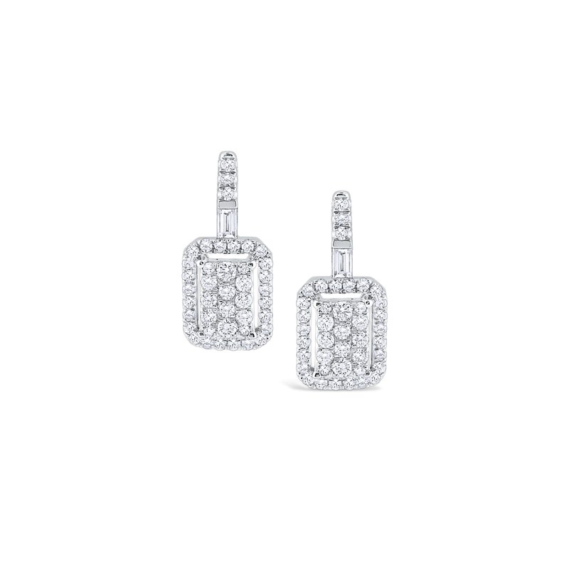 KC Designs Rectangular Diamond Pavé Earrings Set in 14 Kt. Gold