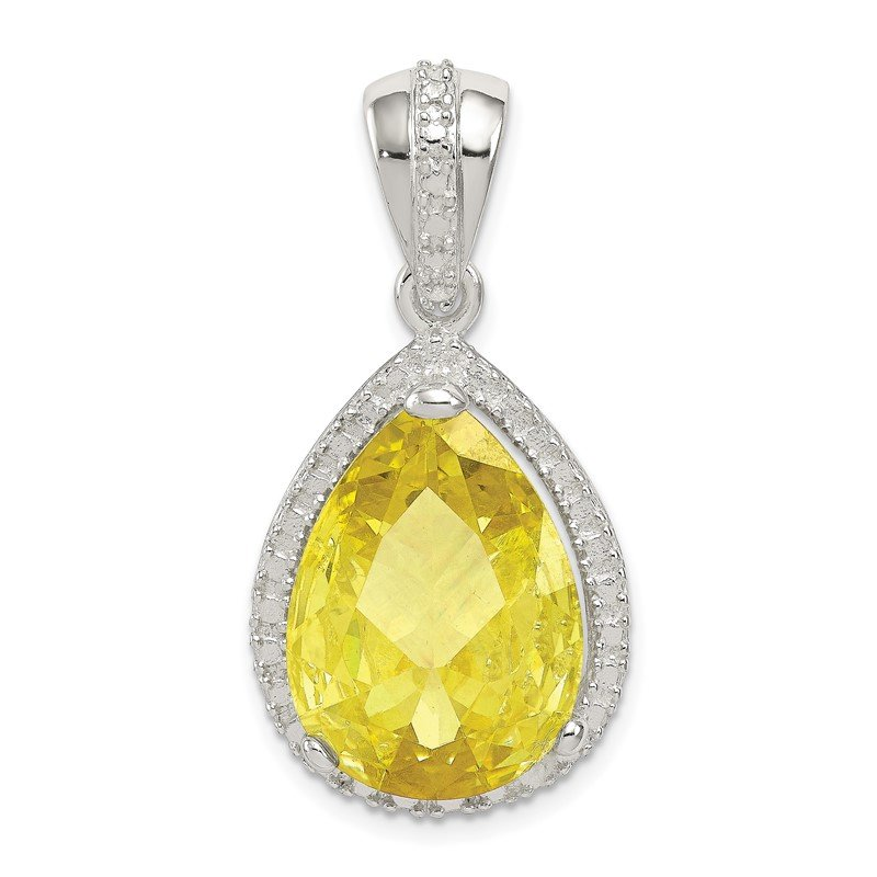 Quality Gold Sterling Silver Pear Shape Yellowish Green CZ Pendant