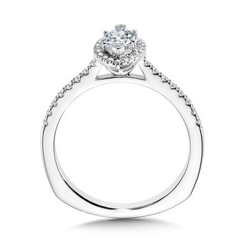 Marquise Diamond Straight Halo Engagement Ring