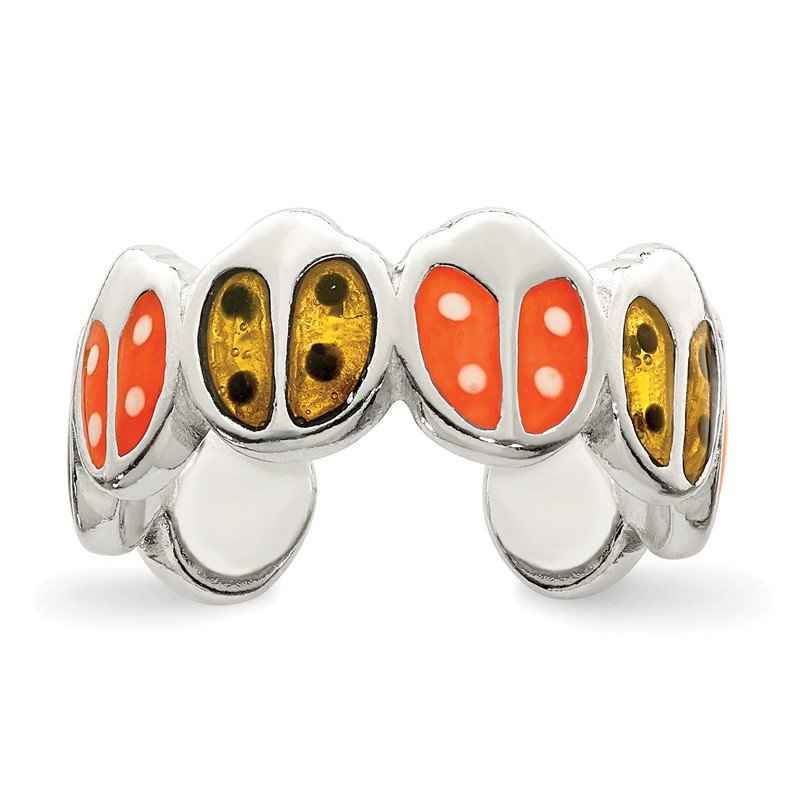 Quality Gold Sterling Silver Red & Orange Enameled Ladybug Toe Ring