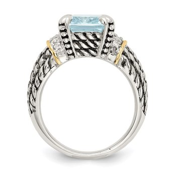 SS w/14k True Two-tone Diamond & 8.10Sky Blue Topaz Ring